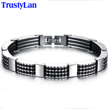 TrustyLan Classic Man Bracelets Fashion Male Jewelry Black Bangles Made Of Silicone & Stainless Steel Bracelet Men Armband