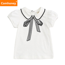Girls Shirts Infant Overcoat Summer School Blouses For Girls 1-6T White Base Shirt Short Sleeve Girl Outerwear Cotton Kids Top(China)