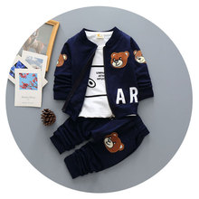 2016 Autumn Baby Boys Sports Suits 3 Piece Tracksuits For Boys Child Garment Toddler Infant Outfit Clothes Baby Boy Tracksuit(China)