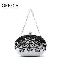 OKEECA Luxury Pearl Diamonds Handmade Phone Bag Wedding Evening Part Time Handbag Mother's Day Gift Top Quality 2017 New Design