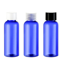 Empty blue Plastic Bottle 50ml Essential Oil Packaging Shower Gel Bottles Screw Top Cap Makeup Refillable Bottles Container