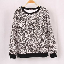 Faux fur lining Fleece Warm Women Leopard Printed Sweatshirt Hoody Hoodies Tracksuits Pullovers Tops Outerwear Woman
