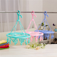 1pc 18 Pins Plastic Round Drying Rack Tie Folding Hanger Hook Rack Laundry Tools Hanging Sock Clothes Green/Blue/Pink Colors(China)