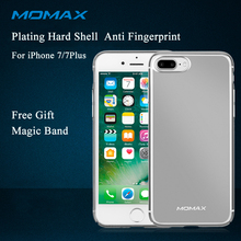 Momax Original Luxury Plating Slim Frame Hard PC Phone Case for iPhone 7 8 plus Coque Full Durable Back Cover Free Magic Band(China)