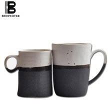 BENEWOTER 250ml 300ml Creative Japanese Ceramic Rough Pottery Tea Milk Coffee White Ink Black Mug for Lovers Parent's Gift Cup(China)