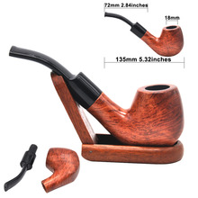 [HORNET]Bent Red sandalwood 9mm filter tobacco pipe Smoking Pipe with 6 accessories
