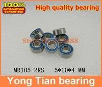 Free Shipping High quality 10PCS MR105-2RS ABEC-5 5x10x4 mm Miniature Ball Bearings MR105RS L1050