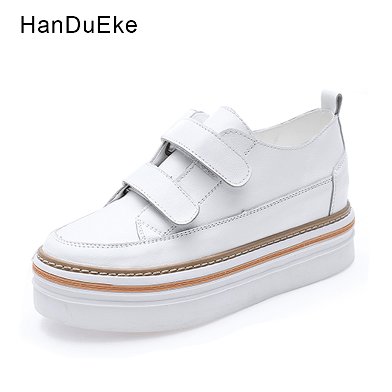Platform Flats Genuine Leather Women Shoes Hook Loop Round Toe Casual Shoes 2018 Spring New Female Shoes Black White size 34 39<br>