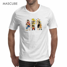 MASCUBE Fashion Style Anime T Shirt Men Summer 2017 Goku Luffy Naruto Cartoon Character Funny T Shirt Cool White Customize Tees