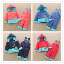 2014 Baby Fish Down Jacket Suit Set Toddler Quality Down Coat+Pants Sets Boys Girls Children Winter Clothing sets For Kids(China)