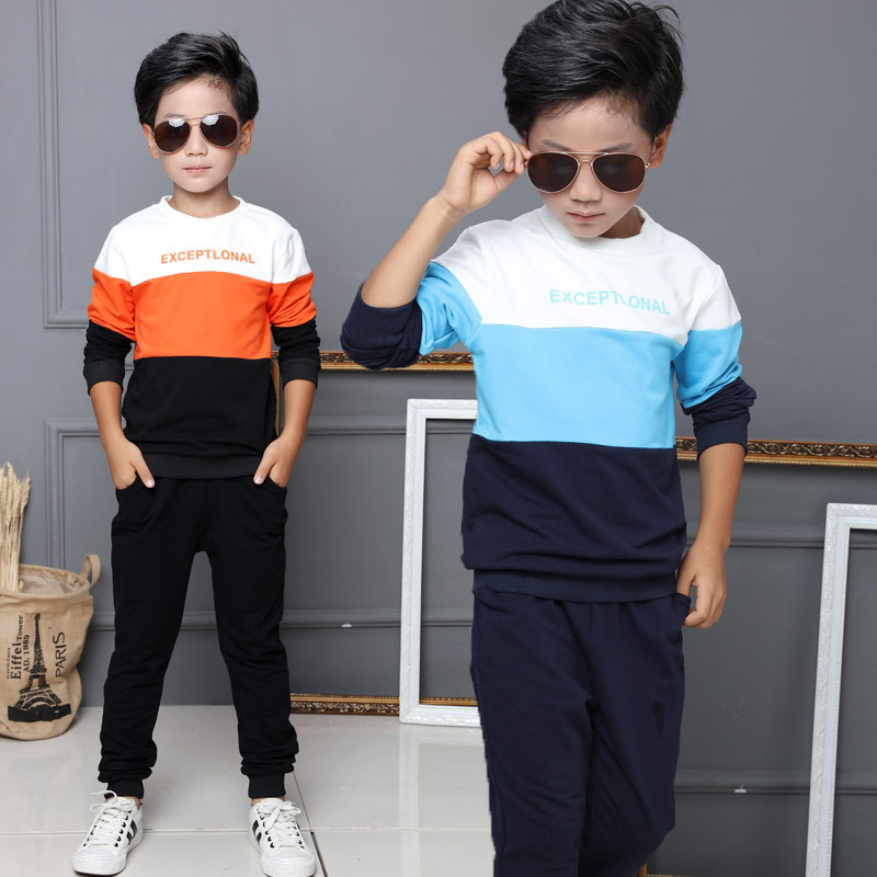 Childrens Clothing Set Spring Big Boys Tracksuit T-Shirt + Pant kids Cotton casual sweater twinset Baby Boy Clothes Suit F273<br><br>Aliexpress
