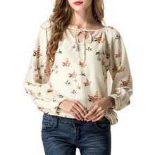 LNRRABC Spring/Summer Women Shirt Chiffon Floral Print Long Sleeve Blouse Casual V Collar Flying Pigeons Tether Blouse