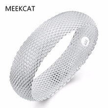 full wide mesh bangle cuff bracelet 925 stamped silver plated big gridding bracelets bangles Pulseiras de Prata free shipping