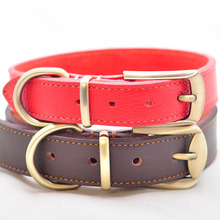 New Genuine Leather Dog Collar Concise and Vogue Adjustable Pet Collar Dog Necklace for Small Medium Large Dogs Black Red Brown