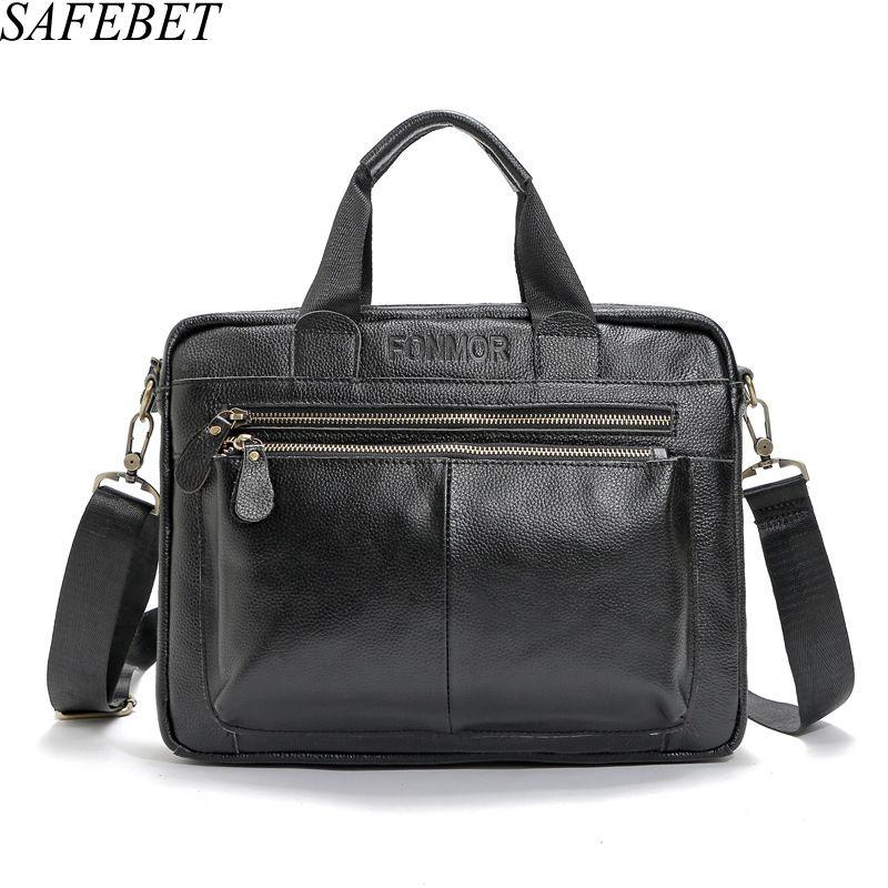 SAFEBET Brand Genuine Leather Men High Quality Mens Business Handbags Two Color Real Leather Soft Men Laptop bag Shoulder Bag <br>