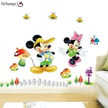 Old Passenger _ Lovely Princess Mitch Mini Park Cartoon Wall Stickers Mickey & Minnie Mouse Boys Girls Kids Room Decor Mural