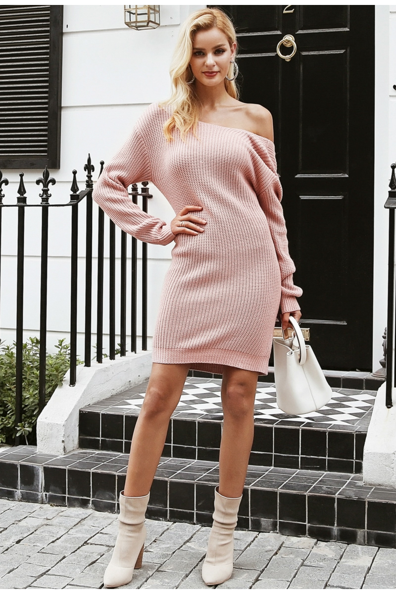 Off shoulder knitted sexy cross long sleeve dress