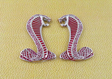 2 x L/R silver Red Cobra Snake for Mustang Shelby GT Fender Emblem Badge Sticker