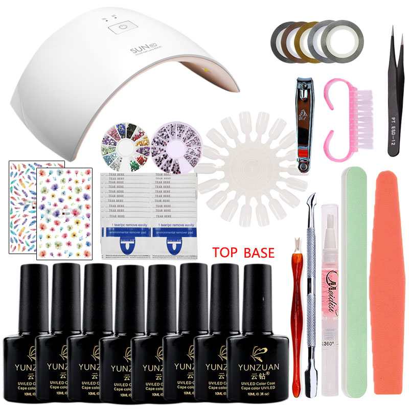 NAIL Art Manicure GEL BASE Practice  SETS TOOLS Kits 24W uv Led Lamp + 6 Color 10ml Gel nail base gel top coat gel Sets &amp; Kits<br>