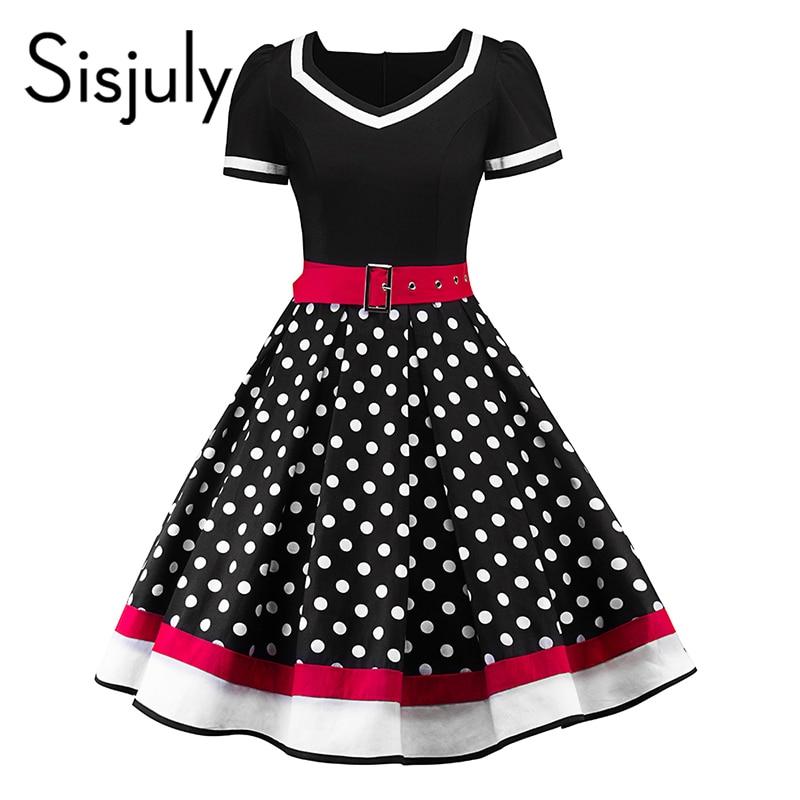 5f37e0da904 Sisjuly vintage women short sleeve dress polka dots patchwork belts v-neck dress  party a-line daily girl retro summer dresses