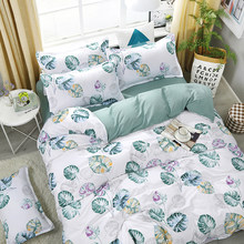 New Blue Banana Leaf Pattern Bedding Set Bed Linings Duvet Cover Bed Sheet Pillowcases Cover Set For 1.2/1.5/1.8/2/2.2m Bed(China)
