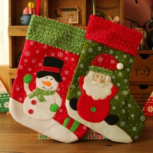 2pcs Christmas Stockings Enfeites De Natal Hand Making Crafts Children Candy Gift Bag Santa Bag Elk The Old Man Snowman WYQ
