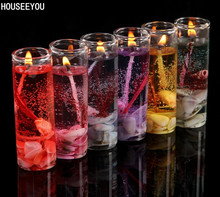 Glass Bottles Ocean Gel Wax Romantic Candles Home Decor Birthday Candle 6 Colors for Wedding Banquet Candle Celebration Supplise