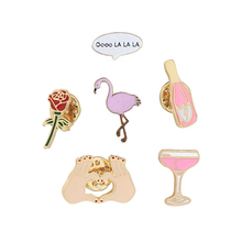 Flamingo Wine Bottle Cup Rose Flower Heart Shape Cartoon Brooch Pins Collar Bag Jacket Enamel Brooches Jewelry For Women Girl(China)