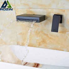 Wall Mounted Bathroom Waterfall Basin Faucet Single Lever Brass Black Mixer Faucet Taps Two Holes