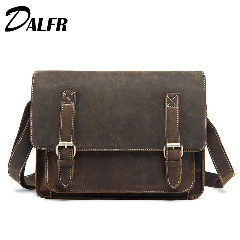 DALFR Cowhide Messenger Bags 14 Inch Hasp Style Genuine Leather Shoulder Bags Vintage Solid Crazy Horse Crossbody Bags Men<br><br>Aliexpress