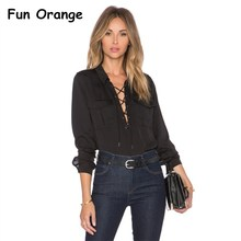 Fun Orange Elegant Lace Up Blouse Shirt Women Tops Autumn Blouse Womens Clothing Winter Black 2017(China)