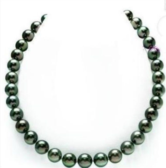 "free shipping stunning 10-11mm BLACK GREEN PEARL NECKLACE18""14kG"