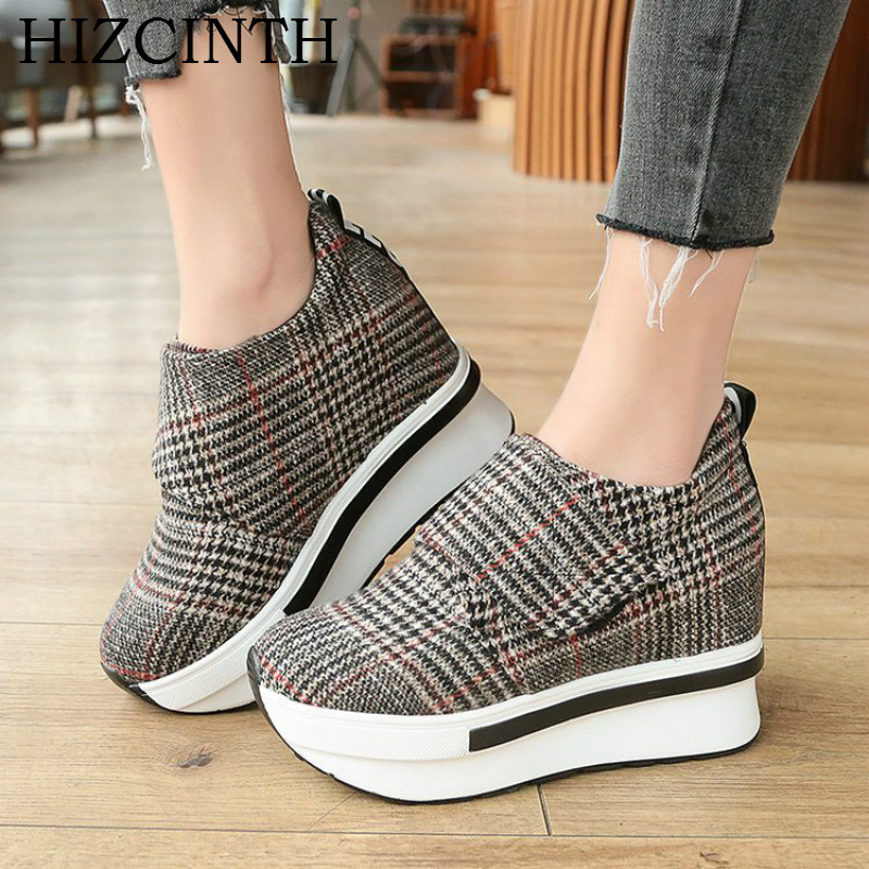 HIZCINTH 2018 New Spring Shoes Woman Korean Boat Shoes Fashion Plaid Increased Leisure Flat Platform Canvas Casual Loafers<br>