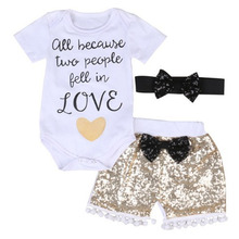 Newborn Baby Clothes Girls Three Sets Short Sleeved Romper Elegant Sequins Cool Black Bow Shorts Match Headband Kid Clothes