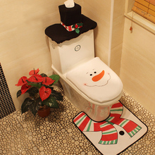 3Pc/set Bathroom Toilet Mats Winter Thicken Bathroom Toilet Seat Cover Christmas Decorations For Home Toilet Seat Cover Pad(China)