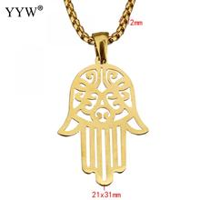 YYW European Lucky Gifts Women Male Unisex Necklace Gold-color Box Chain Hollow Hamsa Hand Stainless Steel Pendant Necklaces(China)