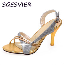 SGESVIER Import bead light leather fabric Hollow out design Combination of color women High heels Sandals shoes size 31-44 XT42