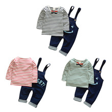 New fashion Baby Wear Suspender Trousers Warm Suits Two-piece Set Children's Clothing(China)