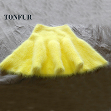 2018 New Arrival Pure Mink Cashmere Skirt Fashion Custom 100% Real Mink Cashmere Casual Skirt Factory Big Size OEM SR5(China)