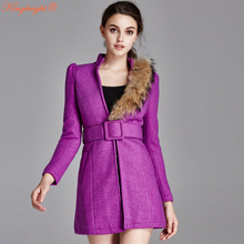 King Bright Winter Coat Women Warm Wool Coat Long Women's Top Grade Coat European Style Fashion Jacket Outwear Black Red Purple