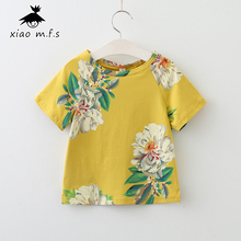 Girls Peony T-shirts Summer New Children's Clothing Floral T Shirt Kid Clothes Casual Cotton Gold Tees 3-8T MFS-705013