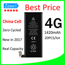20pcs/lot Hot selling Best Price 0 zero cycle Full Capacity Battery for iPhone 4 4G 1420mAh 3.7V Replacement Repair Parts(China)