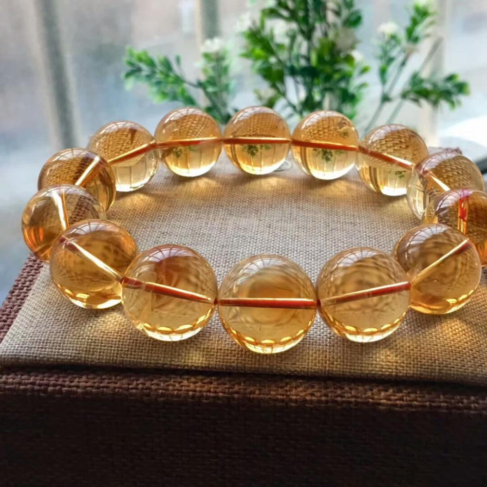 17mm Natural Citrine Quartz Crystal Yellow Bracelet Round Beads Wealthy Gemstone Stone Stretch Woman ManAAAAAA (2)