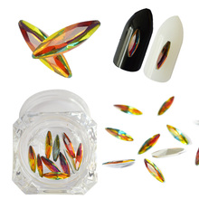 Shining Rainbow Colorful Horse Eye Nail Rhinestones DIY Charm Crystal Stone 3D Flame Glitter Manicure Nail Art Decorations TR467