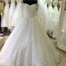 Trouwjurken 2016 Bling Bridal Gowns Sweetheart Chapel Train Lace Up Back Tulle Lace White Simple Wedding Dress