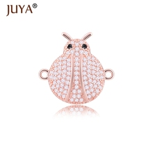 diy jewelry accessories jewellery findings high quality copper metal inlaid CZ rhinestone ladybug connectors for jewelry making(China)
