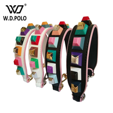 WDPOLO new short rivet genuine leather strap for bags easy matching for all kinds of bags fashion chic handls for bags hot sell(China)