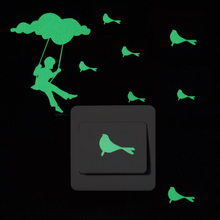 Cloud Swing Switch Sticker Luminous Birds Wall Stickers Home Decor Glow in the Dark Stickers for Kid Room Bedroom Bed Decoration