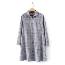 2018 spring women vintage retro turn down collar office lady wear business vestidos plaid casual party mini dress Y2174(China)