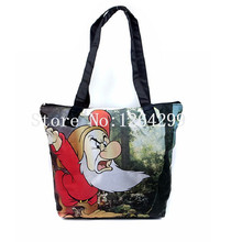 New Fashion Snow White and Seven Dwarfs Girls Woman Nylon Big Shoulder Bags Kids Shopping Bag For Children(China)